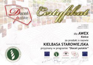 Certyfikat kiełbasy starowiejskiej